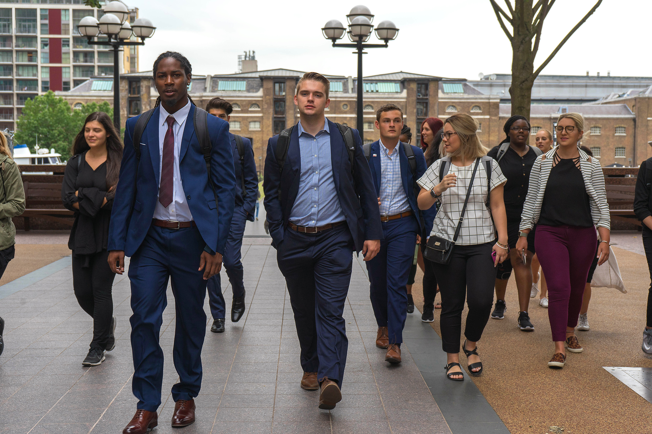 R.J. Sayler with Study Abroad students at Canary Wharf in London.